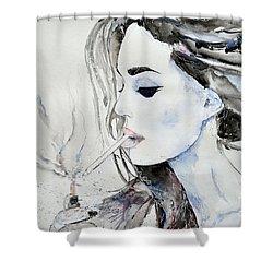 Shower Curtain featuring the painting Brigitte Bardot by Ismeta Gruenwald