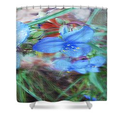 Shower Curtain featuring the photograph Brilliant Blue Flowers by Cathy Anderson