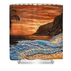 Shower Curtain featuring the painting Brilliant Hawaiian Sunset 1 by Jenny Lee