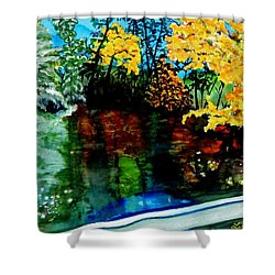Brilliant Mountain Colors In Reflection Shower Curtain by Lil Taylor