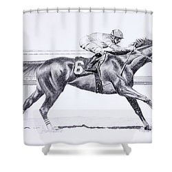 Bring On The Race Zenyatta Shower Curtain by Joette Snyder