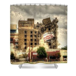 Bringing Down The House Shower Curtain by David Morefield