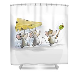 Bringing In The Cheese With Olives Shower Curtain