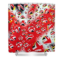 Britain Flag In Water Drops Shower Curtain by Paul Ge