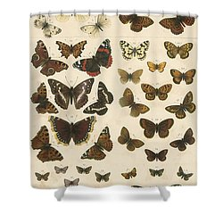 British Butterflies Shower Curtain