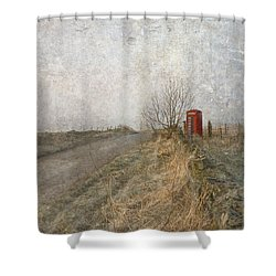 Shower Curtain featuring the photograph British Phone Box by Liz  Alderdice