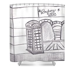 British Telephone Booth   Shower Curtain by Melissa Vijay Bharwani