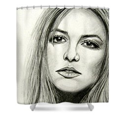 Shower Curtain featuring the drawing Britney Spears by Patrice Torrillo