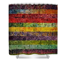 Brocade And Stripes Tower 1.0 Shower Curtain by Michelle Calkins