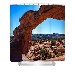 Shower Curtain featuring the photograph Broken Arch Under Blue Sky by Peta Thames
