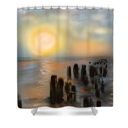Shower Curtain featuring the digital art Broken Dock by Christine Fournier