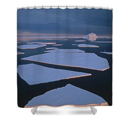 Broken Fast Ice Under Midnight Sun East Shower Curtain by Tui De Roy