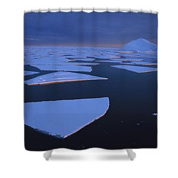 Broken Fast Ice Under Midnight Sun Shower Curtain by Tui De Roy