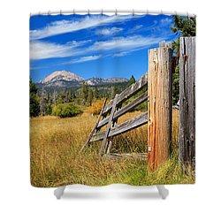 Broken Fence And Mount Lassen Shower Curtain