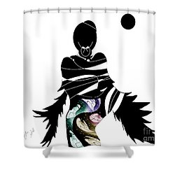 Shower Curtain featuring the digital art Broken Wings by Ann Calvo