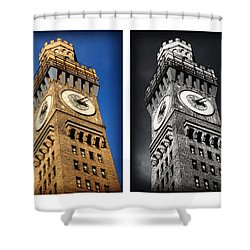 Bromo Seltzer Black And Blue Shower Curtain by Stephen Stookey