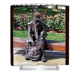 Bronze Mailman Resting Shower Curtain by Jay Milo