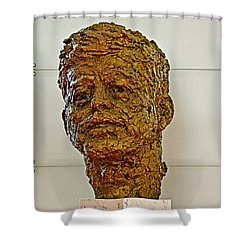Bronze Sculpture Of President Kennedy In The Kennedy Center In Washington D C  Shower Curtain