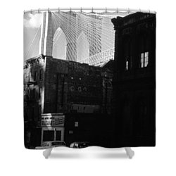 Shower Curtain featuring the photograph Brooklyn Bridge 1970 by John Schneider