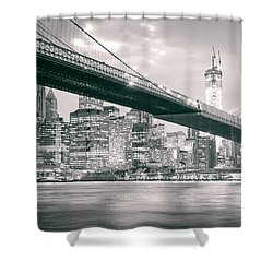Brooklyn Bridge And New York City Skyline At Night Shower Curtain