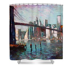Brooklyn Bridge And Twin Towers Shower Curtain by Ylli Haruni