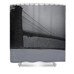 Brooklyn Bridge Blizzard Shower Curtain