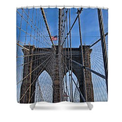 Shower Curtain featuring the photograph Brooklyn Bridge by David Gleeson