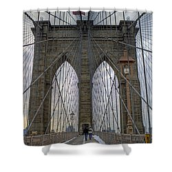 Shower Curtain featuring the photograph Brooklyn Bridge by Jerry Gammon