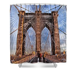 Shower Curtain featuring the photograph Brooklyn Bridge by Paul Fearn