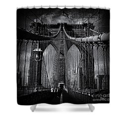 Brooklyn Bridge Up Close New York City Shower Curtain by Sabine Jacobs