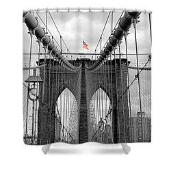 Brooklyn Bridge With American Flag Shower Curtain by Ramona Johnston