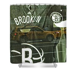 Brooklyn Nets Shower Curtain by Karol Livote