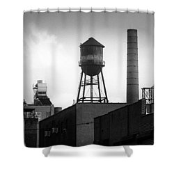 Shower Curtain featuring the photograph Brooklyn Water Tower And Smokestack - Black And White Industrial Chic by Gary Heller