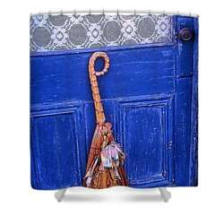 Shower Curtain featuring the photograph Broom On Blue Door by Rodney Lee Williams