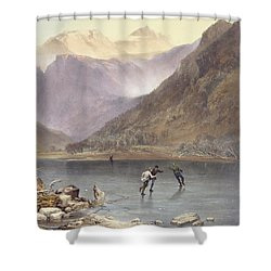 Brothers Water, Detail Of Ice Skaters Shower Curtain by James Baker Pyne