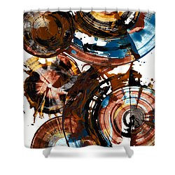 Shower Curtain featuring the painting Brown And Blue Spherical Joy - 992.042212 by Kris Haas