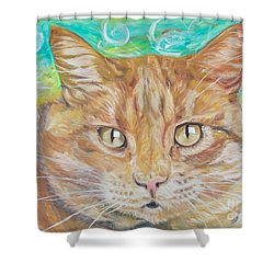 Shower Curtain featuring the painting Brown Cat by PainterArtist FINs husband Maestro