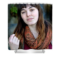 Brown Haired And Freckle Faced Natural Beauty Model Ix Shower Curtain by Jim Fitzpatrick