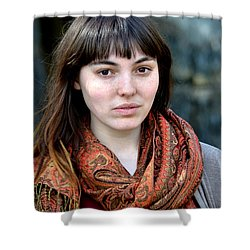 Brown Haired And Freckle Faced Natural Beauty Model Viii Shower Curtain by Jim Fitzpatrick
