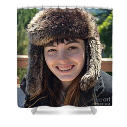 Brown Haired And Freckle Faced Natural Beauty Model Wearing A Hat Shower Curtain by Jim Fitzpatrick