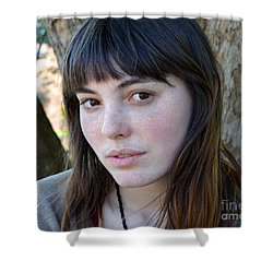 Brown Haired And Freckle Faced Natural Beauty Model Xiv Shower Curtain by Jim Fitzpatrick