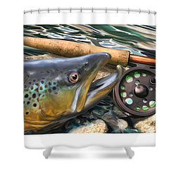 Brown Trout Sunset Shower Curtain