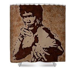 Bruce Lee Original Coffee Painting Shower Curtain by Georgeta Blanaru