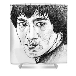 Shower Curtain featuring the drawing Bruce Lee by Teresa White