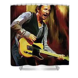 Bruce Springsteen Artwork Shower Curtain by Sheraz A