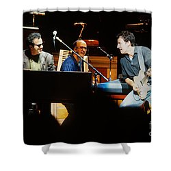Bruce Springsteen Billy Joel And Paul Schaffer Shower Curtain by Chuck Spang