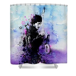 Bruce Springsteen Splats And Guitar 2 Shower Curtain by Bekim Art