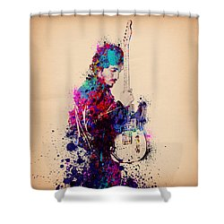 Bruce Springsteen Splats And Guitar Shower Curtain by Bekim Art