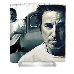 Bruce Springsteen The Boss Artwork 1 Shower Curtain by Sheraz A