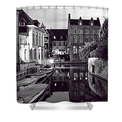 Bruges Canal In Black And White Shower Curtain